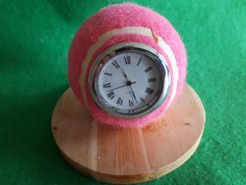 Pink Real Tennis Ball Clock (Roman numeral dial)