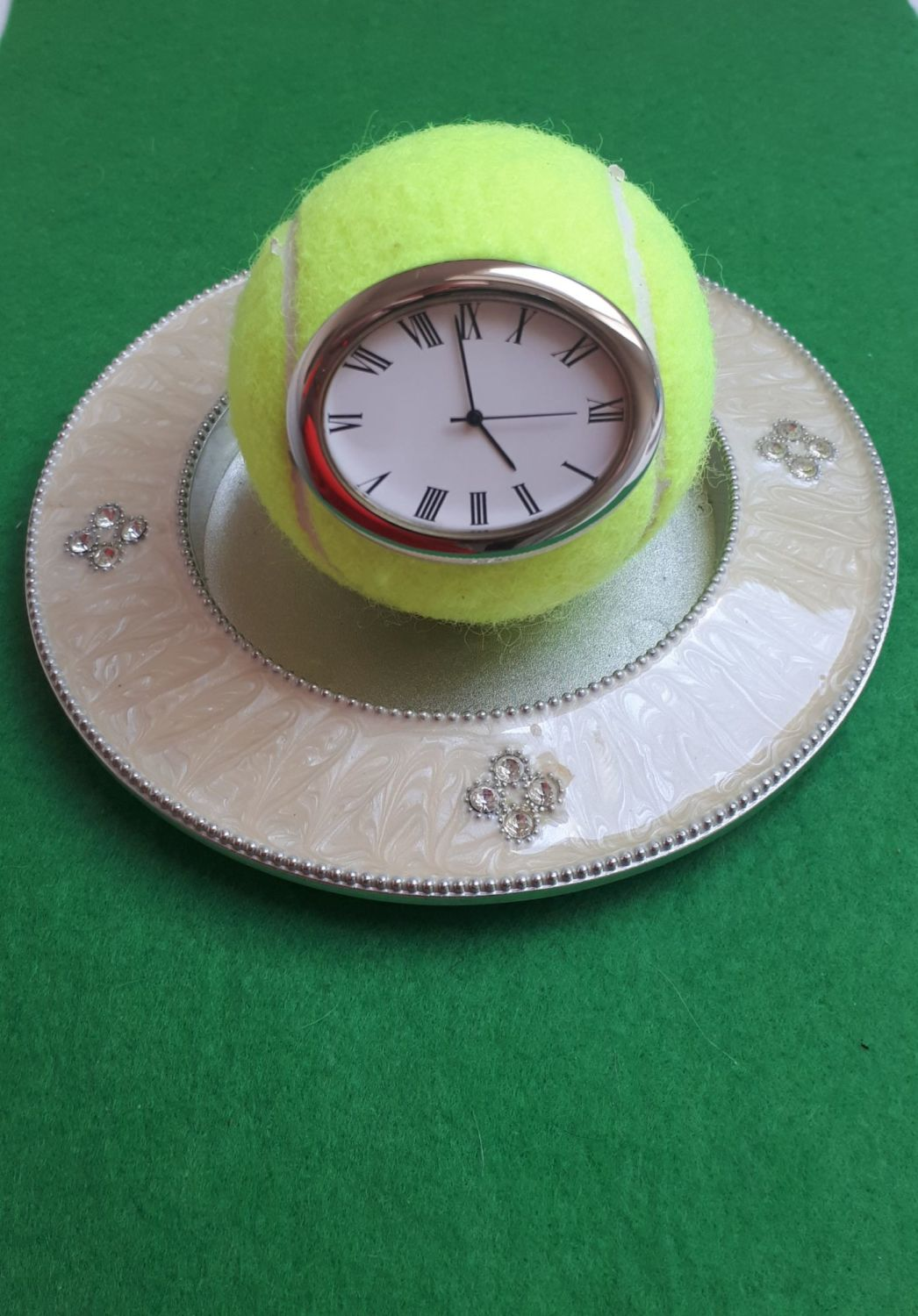 Real Tennis Ball Clock (Roman numeral dial) on lovely metal base