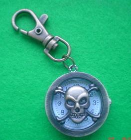 NEW Bronze Skull Key Ring Pocket Watch