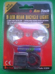 9 LED Rear Bike Light with batteries