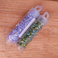 GJ Beads drop beads - green & lilac