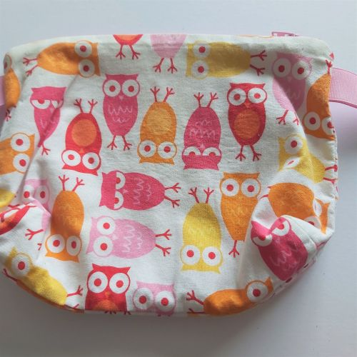 Project Bag - owls (yellow, orange, pink, red)