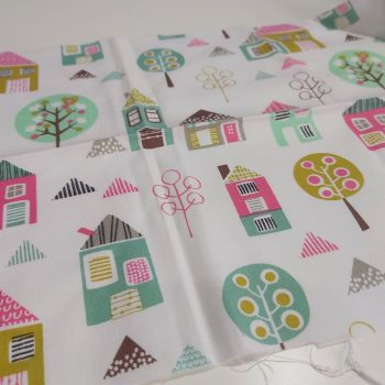 Houses and Trees on White Cotton Fabric