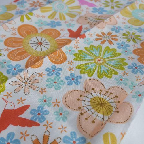 Large flowers on cream cotton fabric
