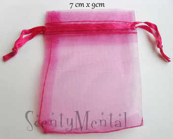Deep pink (fuchsia) Organza Bags x 10