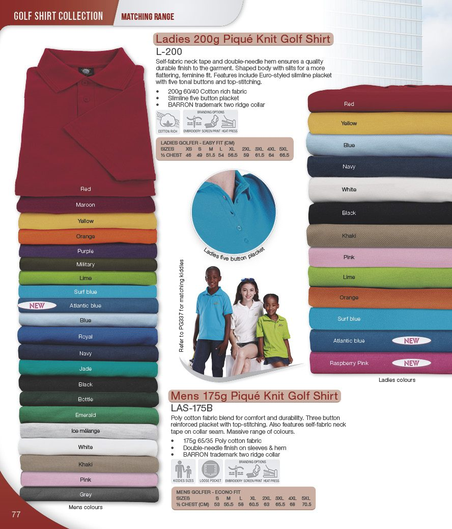 barron golf shirts - adults