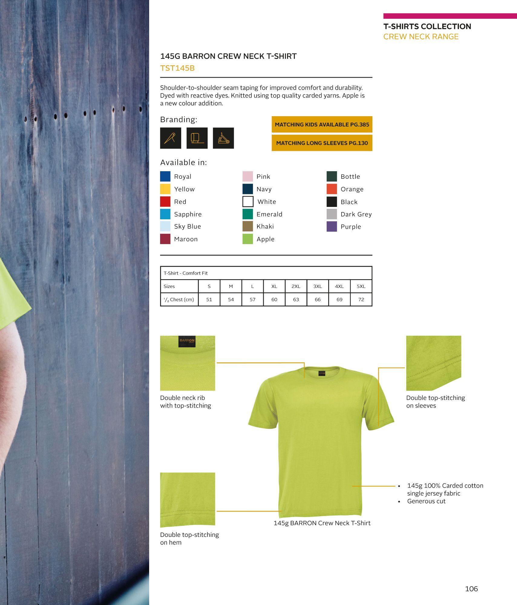 TST145B BArron 145gsm T Shirts
