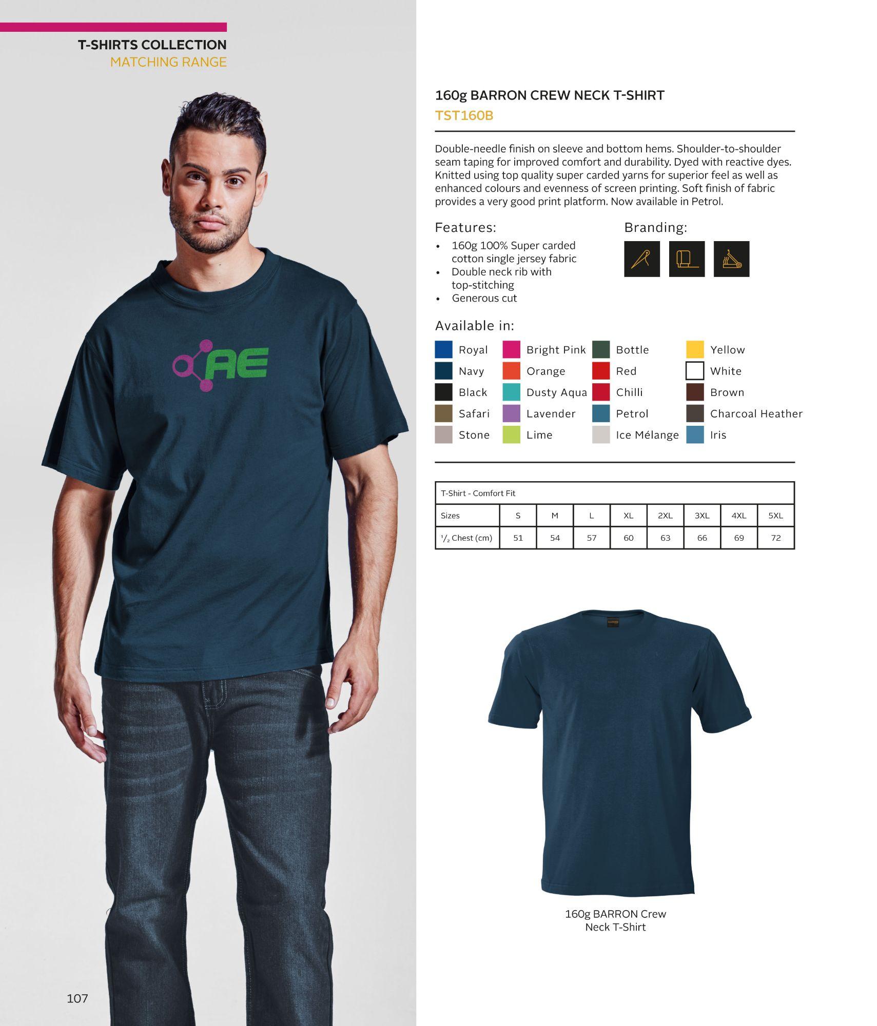 TST160B - 160gsm Mens T-Shirts