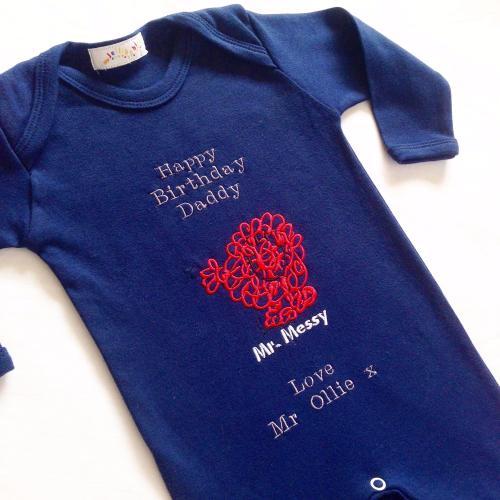 Mr Messy personalised babygrow sleepsuit