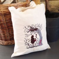 Little red riding hood cotton canvas tote bag shopping bag