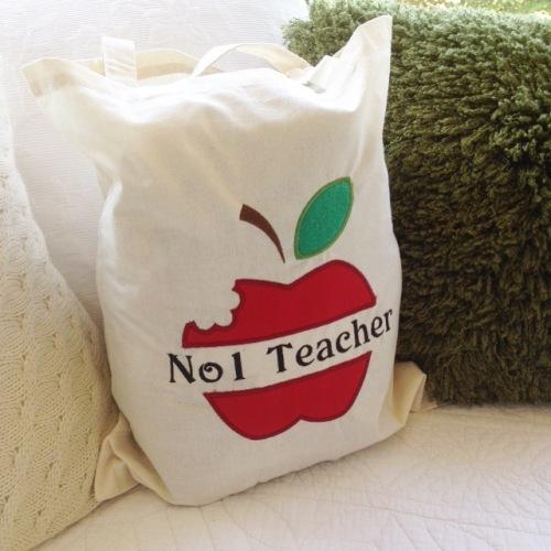 Apple for the teacher  canvas tote bag shopping bag