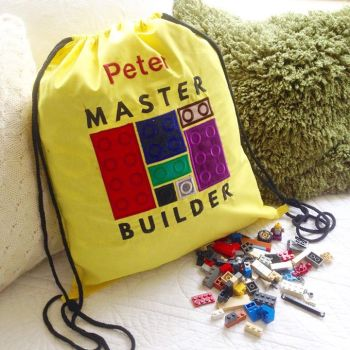Personalised lego storage drawstring Bag