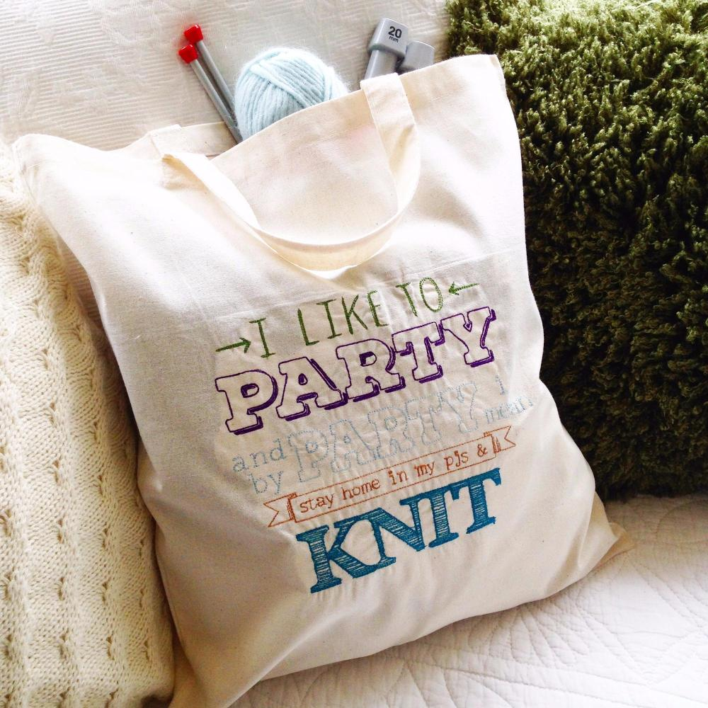 Party and Knit cotton canvas tote  knitting bag