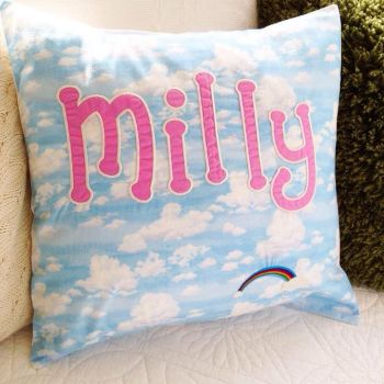 Personalised rainbow and cloud children's cushion cover