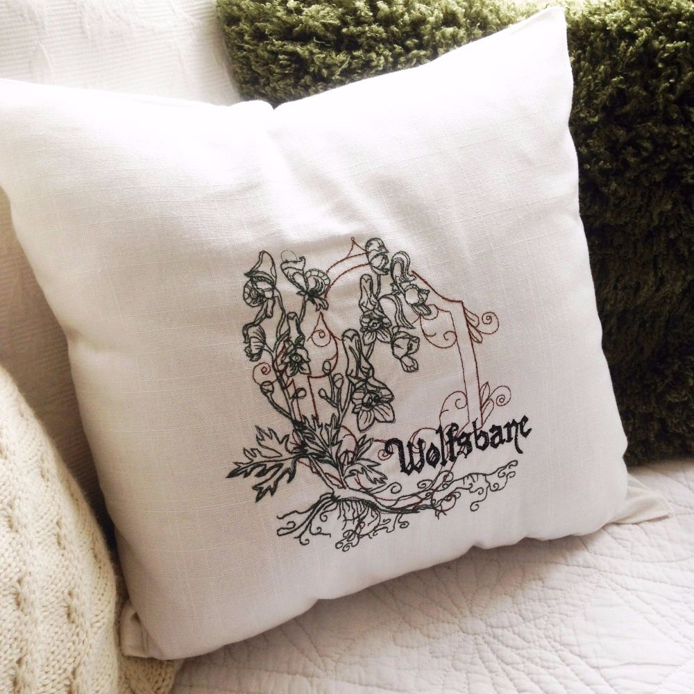 Embroidered poison flower cushion cover