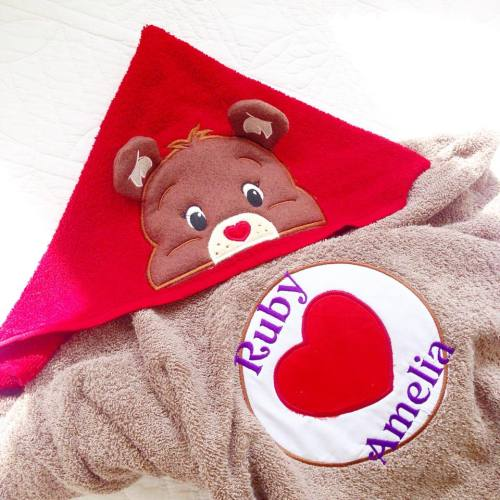 Care Bear inspired personalised hooded baby towel