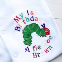The very hungry caterpillar personalised birthday babygrow sleepsuit
