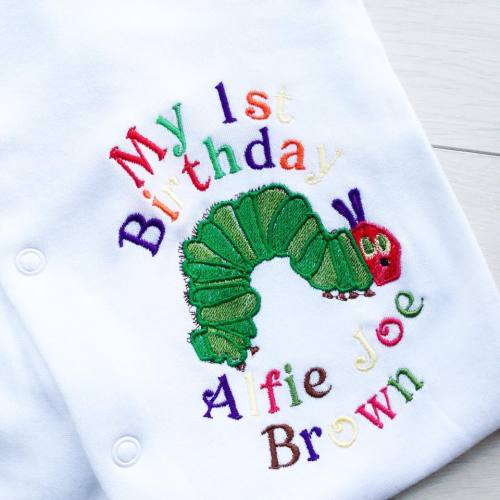 The very hungry caterpillar personalised birthday babygrow sleepsuit