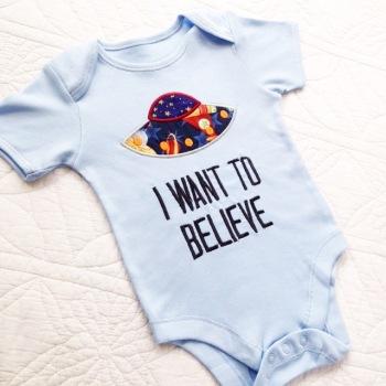 Alien UFO believe  baby onesie vest