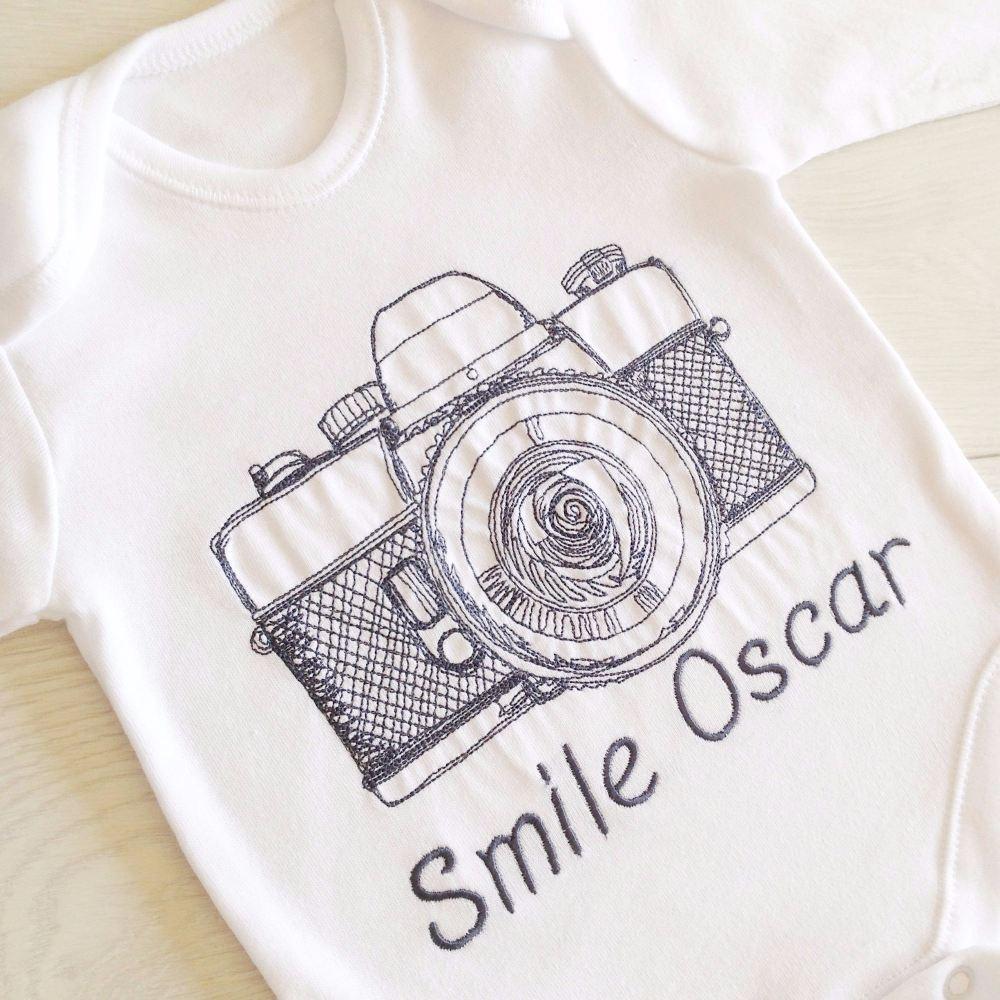 Retro embroidered camera baby onesie vest