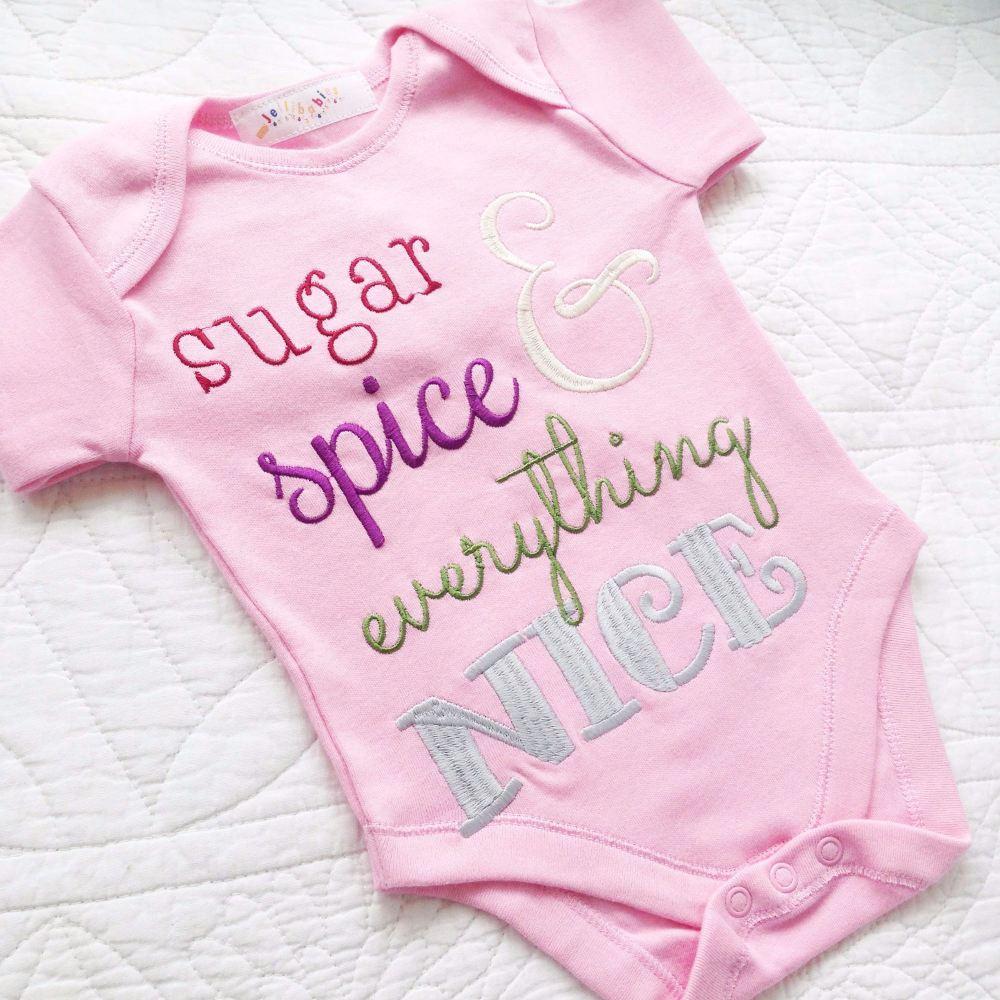 Sugar and spice baby onesie vest