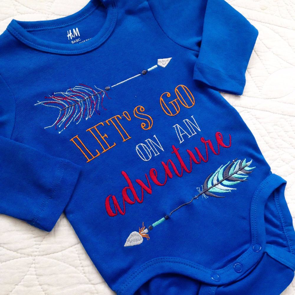 Life is an adventure embroidered  baby onesie vest