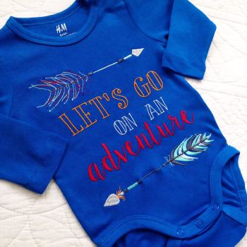 Lets go on an adventure embroidered  baby onesie vest