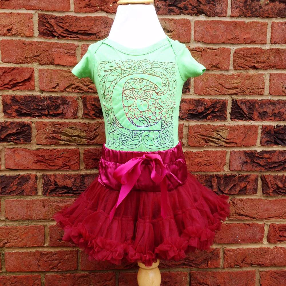 Personalised  christmas baby tutu and onesie vest set