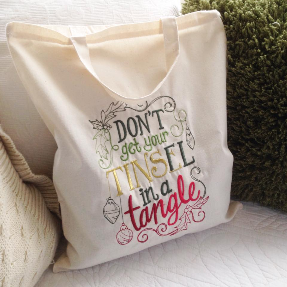 Don't get your tinsel in a tangle embroidered  canvas tote  shopping bag