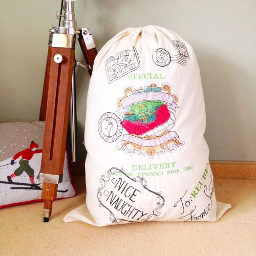 Giant personalised vintage christmas stocking sacks fully embroidered