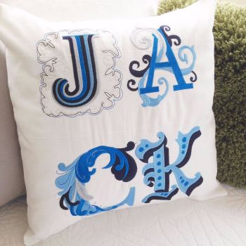 Personalised embroidered name cushion