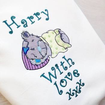 Personalised tatty teddy style cotton knit baby blanket