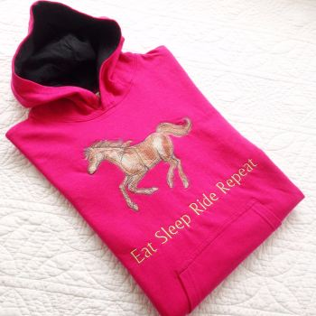 Embroidered horseriding Eat Sleep Ride Repeat children's hoodie