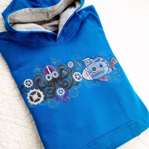 Embroidered steampunk sealife octopus submarine children's hoodie