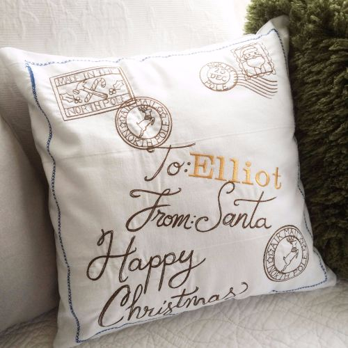 Personalised vintage style christmas cushion fully embroidered