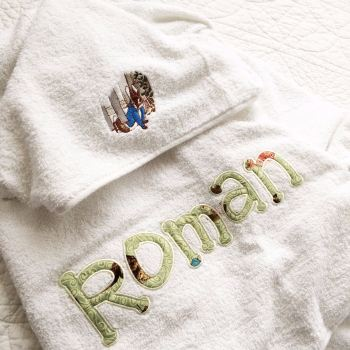 Personalised Beatrix Potter Peter Rabbit hooded  baby towel