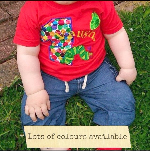 The Very Hungry Caterpillar Personalised Birthday T Shirt Red