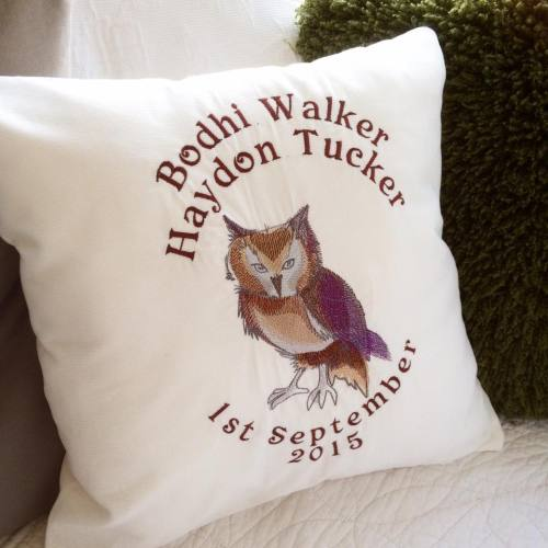 Embroidered owl cushion with fill