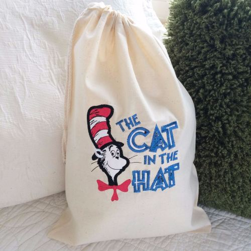 Dr Seuss cat In The Hat  story sack  toy laundry book bag