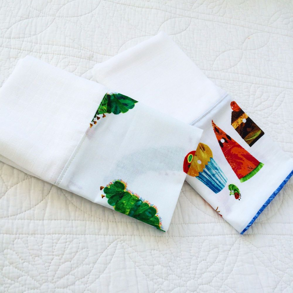 The very hungry caterpillar muslin square set