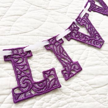 Embroidered lace bunting 2