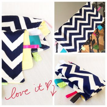 navy chevron giant baby taggy blanket 4