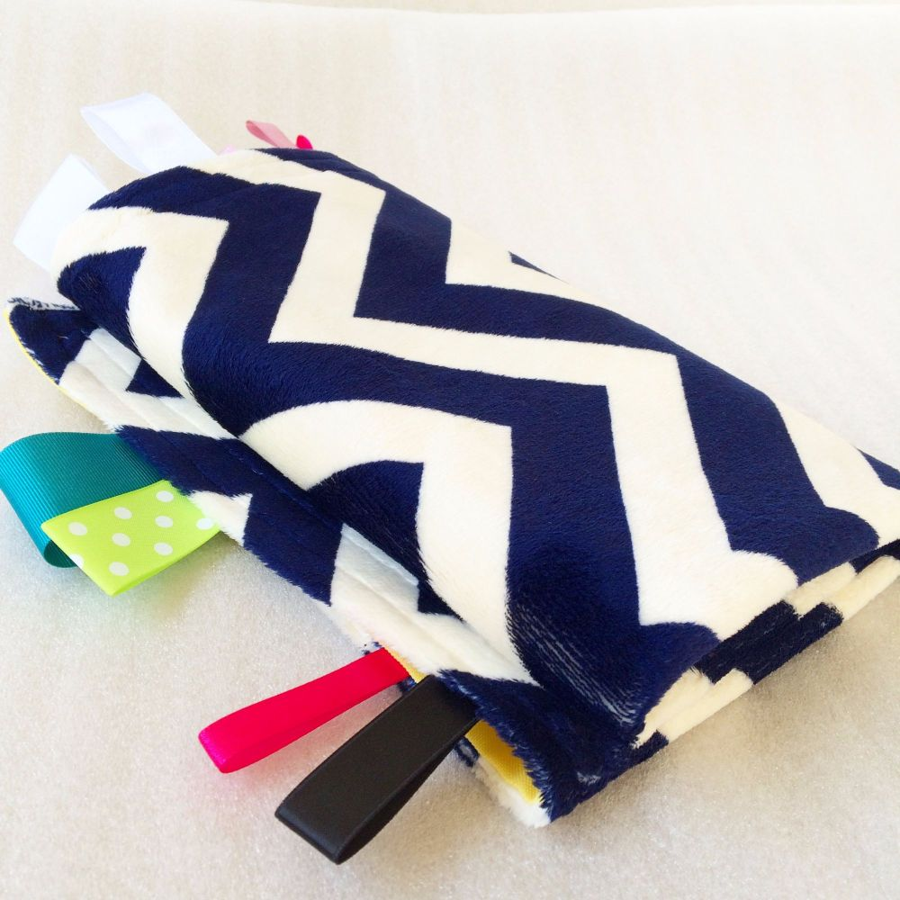 Navy blue chevron pattern minkee fleece giant baby Taggy Blanket