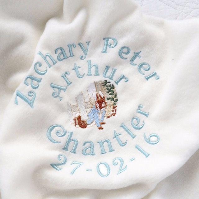 Personalised Peter Rabbit fleece baby cot  blanket