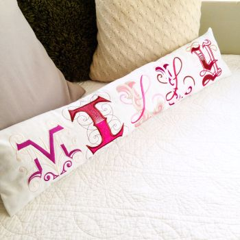 Personalised embroidered name bolster cushion