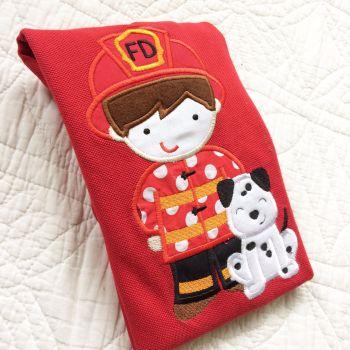 Firefighter Fireman & Dalmatian embroidered children's T shirt