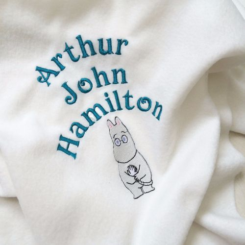 Personalised Moomins  fleece baby cot  blanket