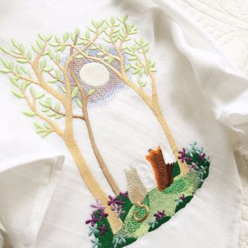 Summer embroidered baby muslin square