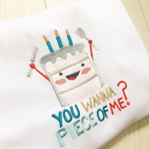 Wanna piece of me cake lovers embroidered children's T shirt