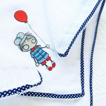 Lace edged sailor boy  embroidered baby muslin square